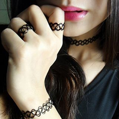 True Glam - Set of 3: Choker + Bracelet + Ring