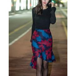GUMZZI - Set: Slim-Fit Top + Flower Patterned Midi Skirt