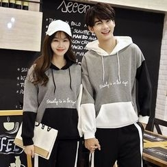 Je T'aime - Couple Matching Lettering Color Block Hoodie