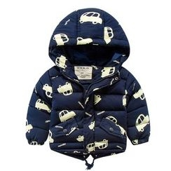 DEARIE - Kids Car Print Hooded Padded Coat