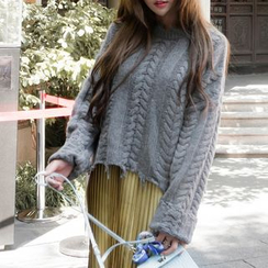 Queen Bee - Distressed Cable-Knit Sweater