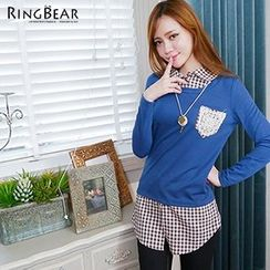 RingBear - Check Mock Two Piece Pullover