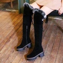 Pastel Pairs - Block Heel Furry Trim Over-the-Knee Boots