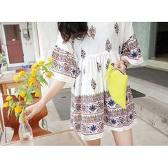 MARSHMALLOW - Bell-Sleeve High-Waist Printed Mini Dress