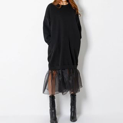 FASHION DIVA - Ruffled Chiffon-Hem Long Pullover Dress