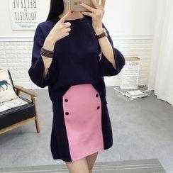 YAMI - Set: 3/4-Sleeve Sweater + Two-Tone Knit Skirt