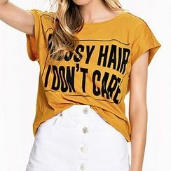 Richcoco - Letter Short-Sleeve T-shirt