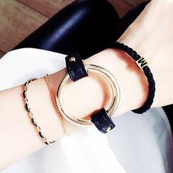 True Glam - Hoop Faux-Leather Bracelet