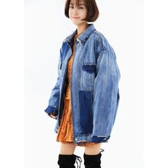 ssongbyssong - Color-Block Denim Jacket