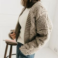 Seoul Fashion - Open-Front Cable Knit Cardigan