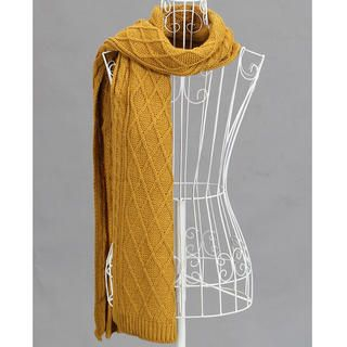 Ando Store - Cable-Knit Diamond-Pattern Scarf