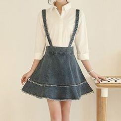 Katie Bloom - Fray Hem Denim Suspender Skirt