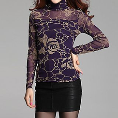chic n' fab - Rose Print Fleece-Lined Turtleneck Top