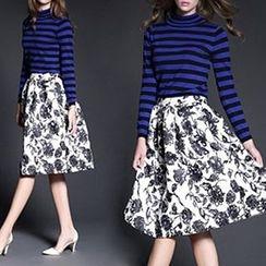 Tal.lu.lah - Set: Long-Sleeve Striped Knit Top + Floral Midi Skirt