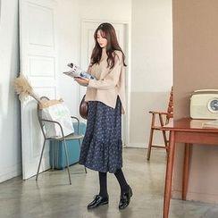 Seoul Fashion - Set: Top + Spaghetti-Strap Patterned Long Dress
