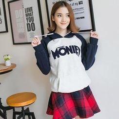 LULUS - Set: Hooded Lettering Pullover + Skirt