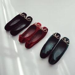 Linda Lane - 饰结绒面平跟鞋