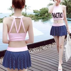 DJ Design - Set: Lettering Tankini Top + Swim Skirt