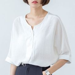 Sens Collection - Plain Short-Sleeve Blouse