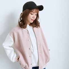BAIMOMO - Color-Block Baseball Jacket