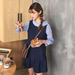 TriStyle - Mock Two Piece Striped Panel Long Sleeve Dress