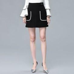 Sentubila - Contrast Trim A-Line Skirt