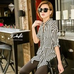 PUFII - Striped Pocket Long Chiffon Blouse