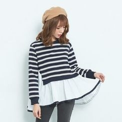 BAIMOMO - Mock Two Piece Paneled Striped Top