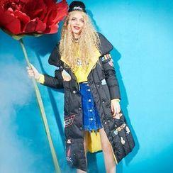 妖精的口袋 - 印花长款夹棉大衣