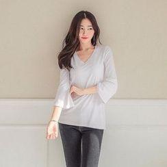 Seoul Fashion - V-Neck Ribbed T-Shirt