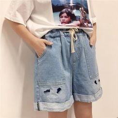 VeryBerry - Embroidered Drawstring Denim Shorts