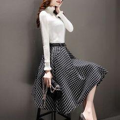 Lavogo - 套装: 皱摺领长袖针织上衣 + 格子中长裙