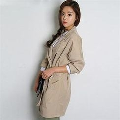 FASHION DIVA - Dual-Pocket Zip-Up Trench Coat with Sash