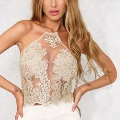 Charlotte - Halter Cutout Lace Cropped Top