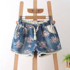 Aigan - Floral Denim Shorts