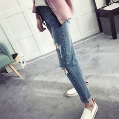efolin - High Waist Distressed Jeans