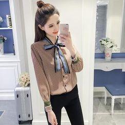 Sienne - Tie Neck Plaid Shirt
