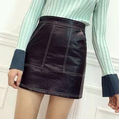 Octavia - Stitch Detailed Faux Leather Mini Skirt