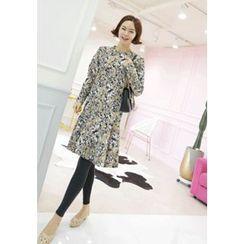 Lemite - Set: Sleeveless Knit Top + Floral-Pattern Dress