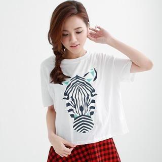 rico - Short-Sleeve Zebra-Print T-Shirt