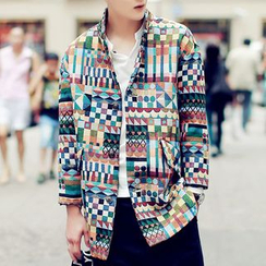 Bay Go Mall - Patterned Button Down Jacket