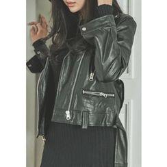 REDOPIN - Zip-Detail Faux-Leather Jacket