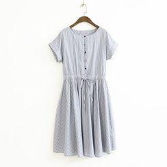 蘭芝 - 細條紋短袖連衣裙