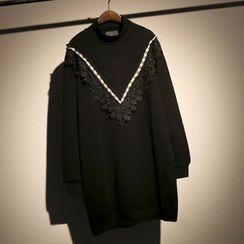 somniaa - Crochet Trim Mock Neck Long Pullover