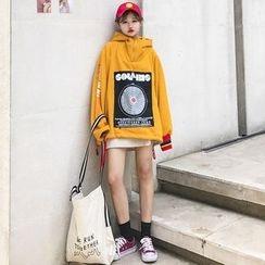 Kojasmine - Applique Printed Hooded Pullover