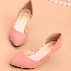 IYATO - Pointy-Toe Plain Kitten Heels