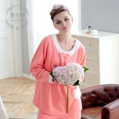 Mydream - Loungewear Set: Bow Coral Fleece Pullover + Pants