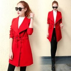 Shinbell - Drawstring Buttoned Coat
