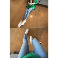 Momnuri - Maternity Slit-Hem Washed Skinny Jeans