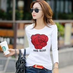 Zyote - Rose Print Long-Sleeve T-shirt